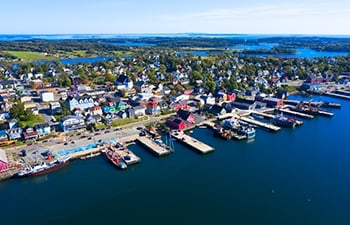 Aerial shot of a costal town.